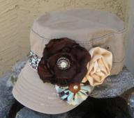 Khaki Cadet Military Distressed Army Hat with Fabric Flowers