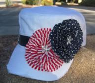 White Cadet Military Distressed Army Hat Stars and Stripes