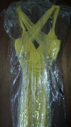 Yellow beautiful prom dress