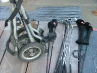 Set of Ram Golf Clubs and Push Cart