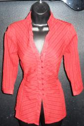 Red mid-sleeve blouse with vague stripes