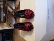 Red rose print satin slingback - size 7