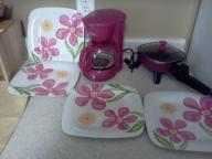 Pink Coffee Pot & Plates