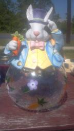 Easter Rabbit Cracked Glass Cookie Jar