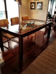 Wood and Glass Dining Table with bamboo accents Seats 12