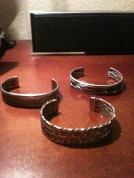 3 silver cuff bracelets