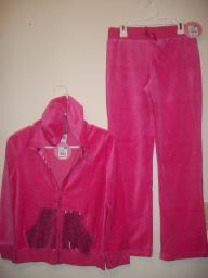 Girls size 10/12 Pink Velour pants and zip hoodie