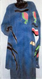 Denim Dress and Duster with Vibrant Artwork on jacket and dress