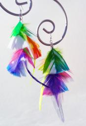 Neon Rainbow Feather Earrings