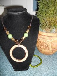 Shell & Glass Beaded Necklace & Bracelet set