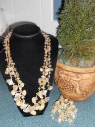 Glass Amber & Topaz necklace & bracelet set