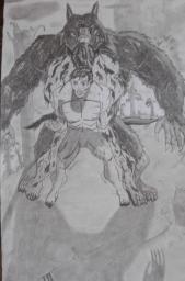 Comic art Werewolf transformation