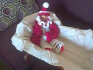 red and white spiral crochet clown