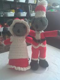 boy/ girl Christmas mouse set  crotchet