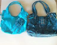 2 Tuquoise and Turquoise and Black Purses