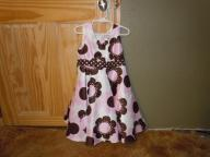 Size 5 Holiday Dress- White with pink and brown flowers