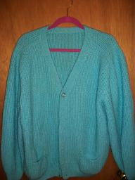 Aqua knit long sleeve sweater