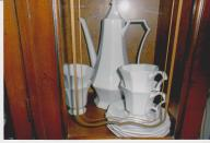 Ironstone coffee/tea pot w/4 cups & 4 saucers