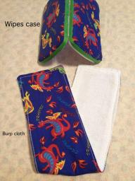 Burp cloth with matching wipes case