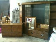 Pecan wood drexel bedroom set with lighted shelves