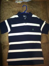 Boys PoloRalphLauren, short sleeve, navy/white stripes, size 8/10