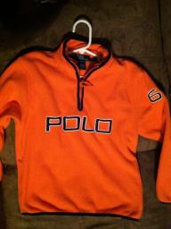 Polo Ralph Lauren fleece, bright orange/navy size 8/10