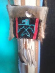 Deer hide medicine bag/beaded Phoenix