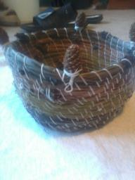 Pine cone and needle basket