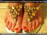 Gold Sandals with Jewel Accents