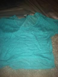 Teal Blue Lace Top