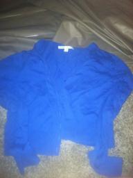 Blue Half Length Cardigan Sweater