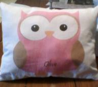 Personalized baby Girl Owl 9x7 accent pillow