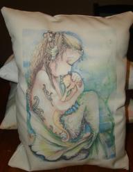 Mermaid Kissing Seahorse shabby style 9x7 accent pillow, handmade