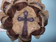 The Cross and the Nails on burlap with variou