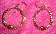 14 K Gold Plated Bead Hoop Drop Earrings