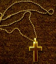 Steel and Wood Cross Necklace