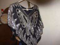 Black Silk Silver Sequined Butterfly Top