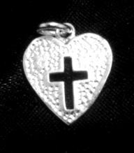 Sterling Silver heart cross pendant