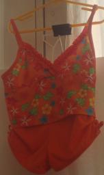 Girls Tropical Orange Swimsuit