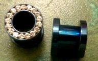 0g Blue Surgical Steel w/ gems earring plugs