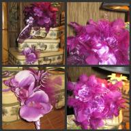 Orchid and Feather Bridal Bouquet and Groom Boutonniere - NEW