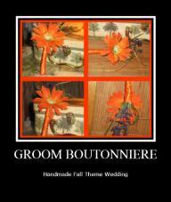 Gerber Daisy Fall Theme Groom Boutonniere - NEW
