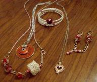 3 necklaces, 1 pair earrings, 1 bracelet