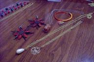 3 necklaces, 1 bracelet, 1 set earrings