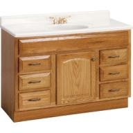 Oak Traditional Bathroom Vanity with Granite Top and Moen Fixture