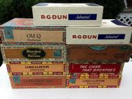9 old cigar boxes