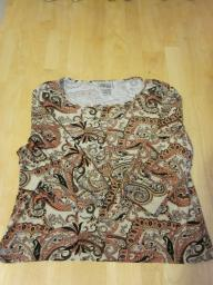 Style & Co Petite Collection Tan/Black Print Top - Large