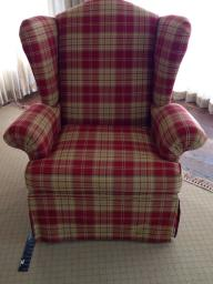 2 Beautiful Red Plaid High-Back Armchairs