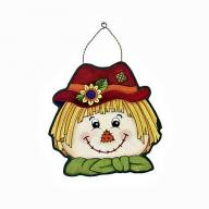 SEASONAL DOOR PLAQUE SCARECROW
