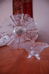 2 piece etched and cut glass platter and dip bowl
